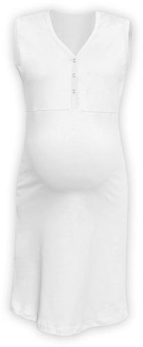 Kojící noční košile rozepínací, bez rukávů, bílá