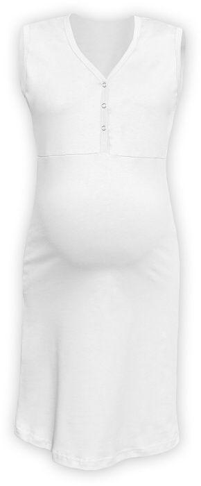 Kojící noční košile rozepínací, bez rukávů, bílá m/l