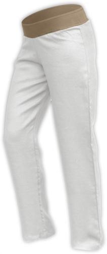 Lněné dámské kalhoty, i pro těhotné, smetanové