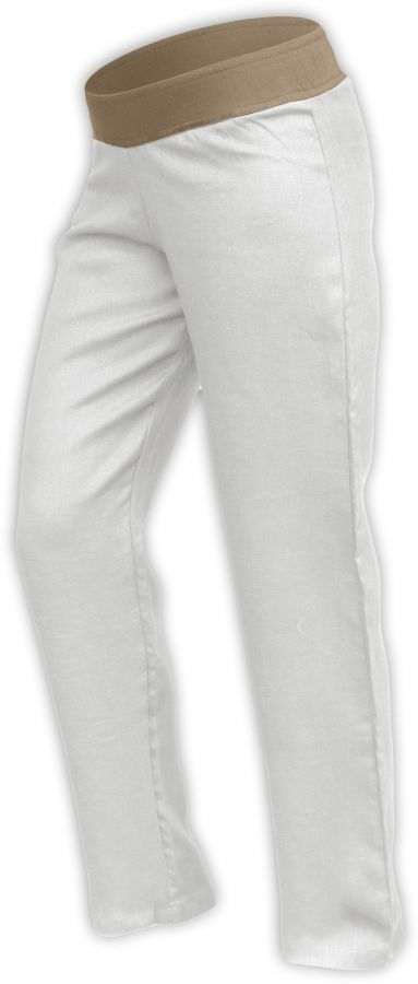 Lněné dámské kalhoty, i pro těhotné, smetanové, vel.m, vnitřní délka nohavice 77cm