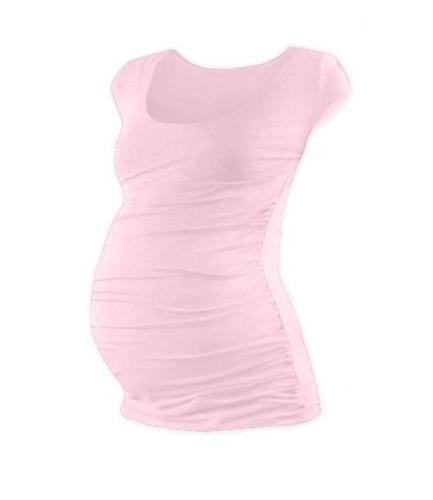 Tehotenské tričko Johanka, mini rukáv, svetlo ružové