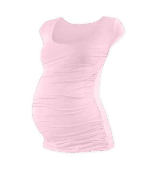 Těhotenské tričko Johanka, mini rukáv, světle růžové