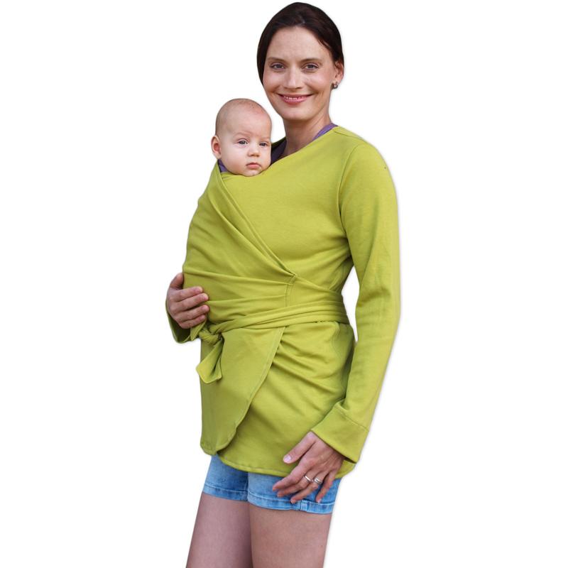 Biobavlněný zavinovací kabátek pro těhotné a nosící ženy blanka, limetkový, s/m