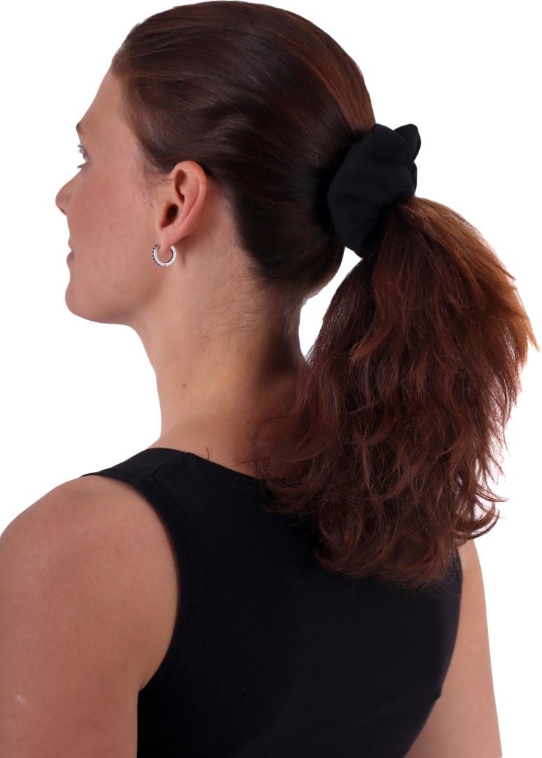 Látková gumička do vlasů, velká, černá