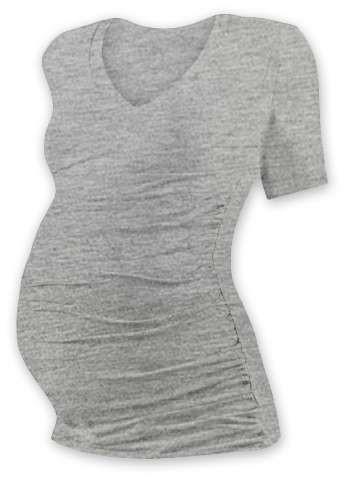 Těhotenské tričko Vanda, krátký rukáv, šedý melír