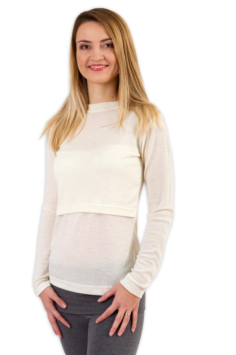 Teplejší merino kojicí tričko mila, smetanové m/l