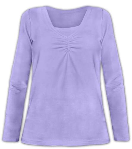 Kojící tričko Klaudie, vsadka v barvě, dlouhý rukáv, šeříková
