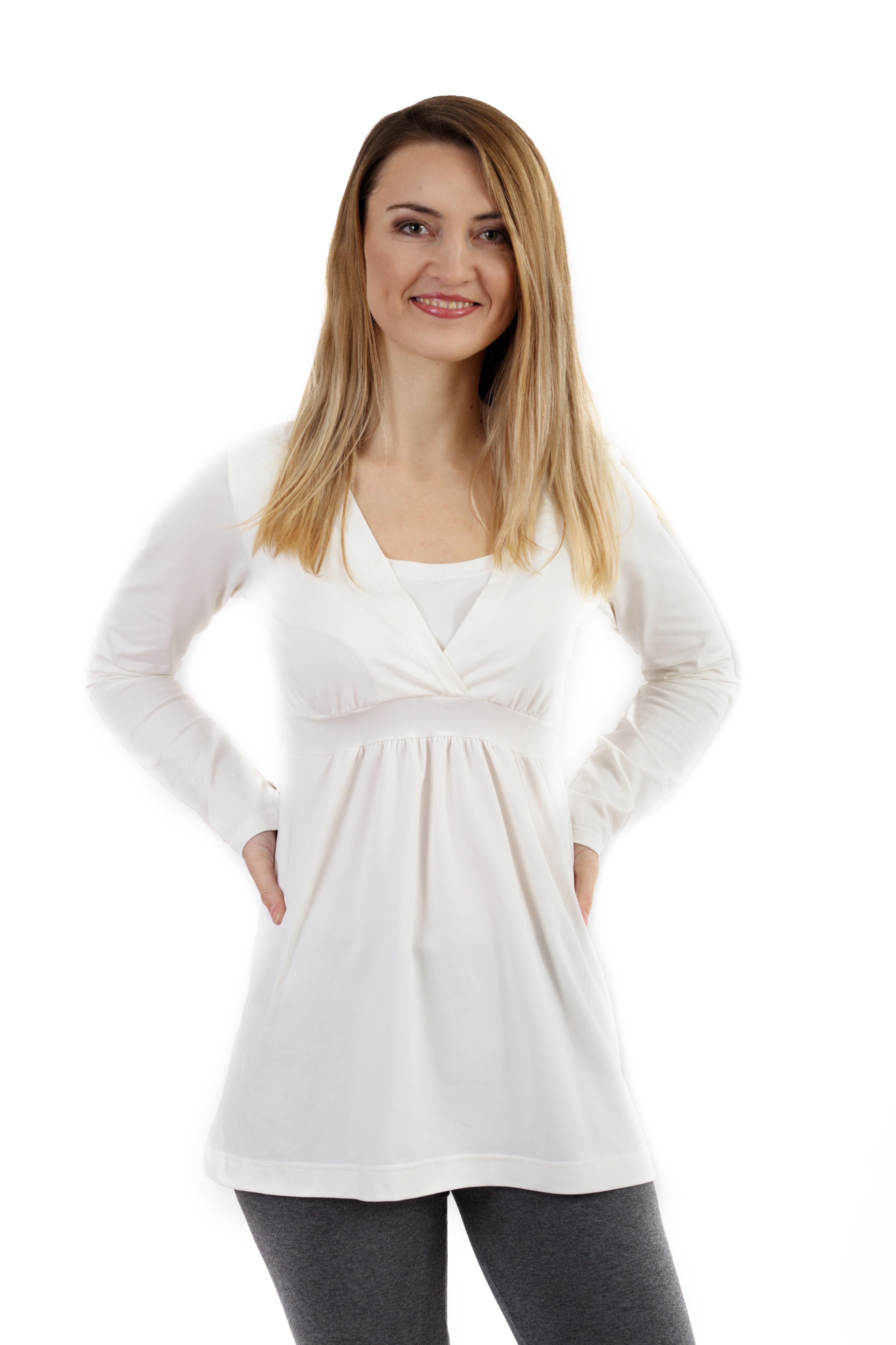 Těhotenská a kojicí tunika anička, dlouhý rukáv, smetanová s/m
