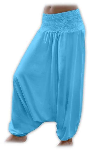 Těhotenské turecké kalhoty, tyrkysové