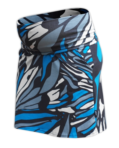 Těhotenská sukně s kapsami Simona, vzorovaná černá, tyrkys